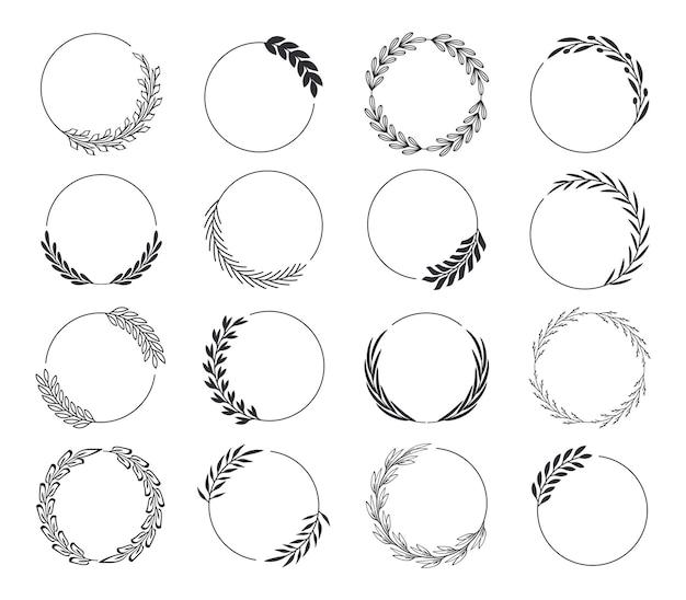 Ensemble de couronnes de laurier noir collection de cadres de branches de laurier cadres ronds floraux de feuilles