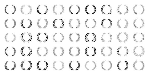Ensemble de couronnes de laurier noir collection de cadres de branches de laurier