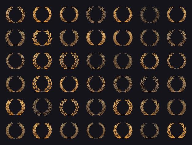 Ensemble de couronnes de laurier en or collection de cadres de branches de laurier