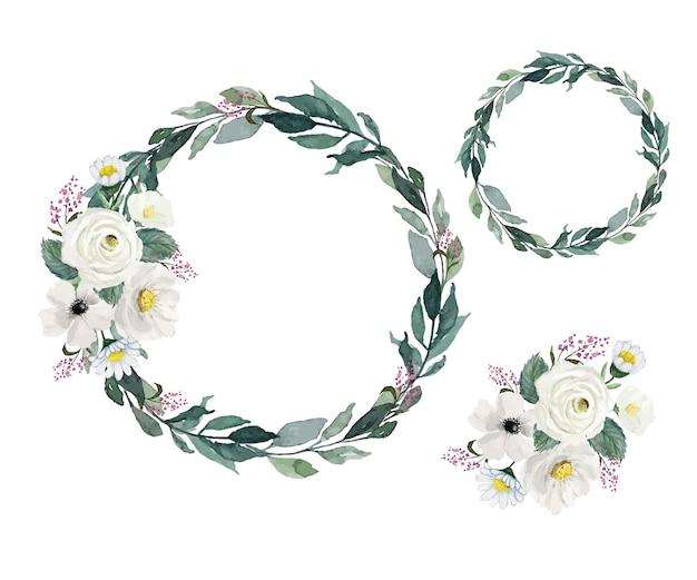 Ensemble de couronnes de petites fleurs et de feuilles vertes vintage légères à l'aquarelle