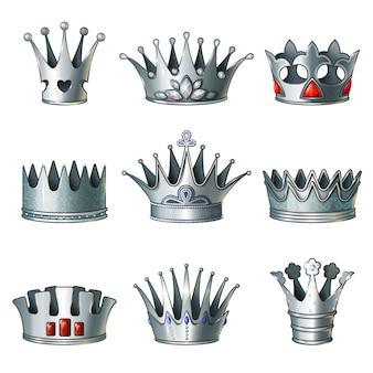 Ensemble de couronnes royales en argent de dessin animé