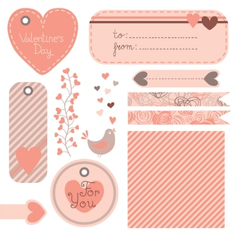 Ensemble de courrier, étiquettes et étiquettes de la saint-valentin