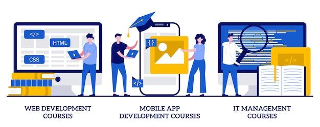 Ensemble de cours de développement web, de développement d'applications mobiles et de cours de gestion informatique