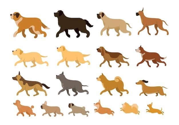 Ensemble de course de diverses races de chiens