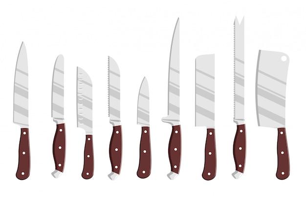 Ensemble de couteaux de cuisine en acier. chef cuisinier dessin ensemble de couteaux, outils de couteaux de boucher