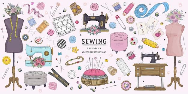 Ensemble de couture de croquis dessinés à la main