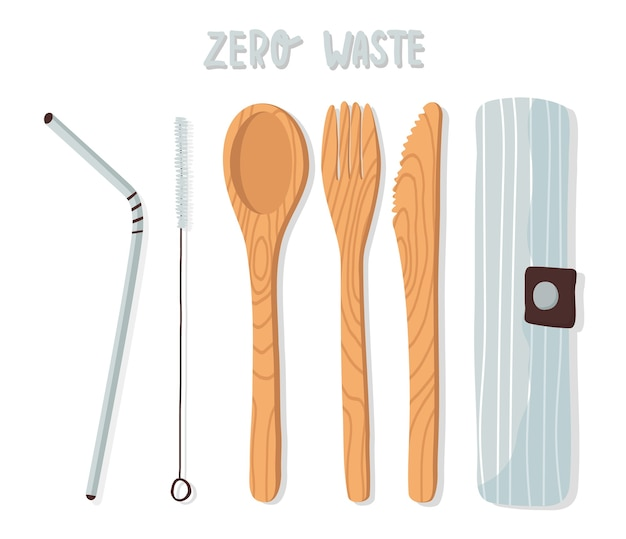 Ensemble de couverts en bois, vaisselle en bambou, cuillère, fourchette, couteau, paille à boire en métal réutilisable et brosse dans un sac en coton. concept zéro déchet.