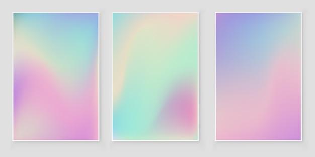 Ensemble de couverture abstraite de couverture irisée dégradé de feuille holographique
