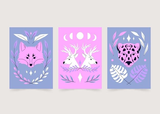 Ensemble de couverture d'animaux sauvages dessinés à la main