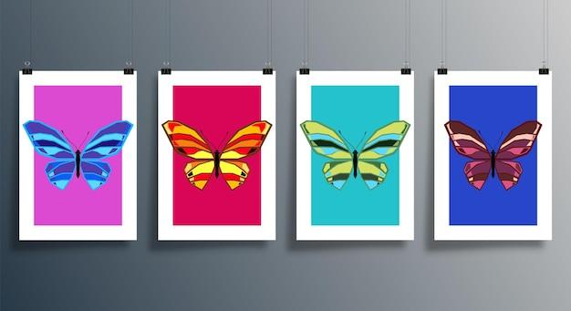 Ensemble de couverture de conception abstraite de papillon pour l'arrière-plan, le dépliant, l'affiche, la brochure, la typographie ou d'autres produits d'impression. illustration vectorielle.