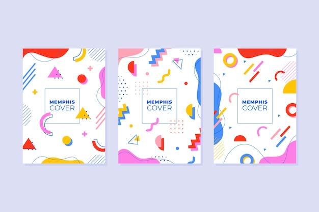 Ensemble de couverture de conception de memphis coloré