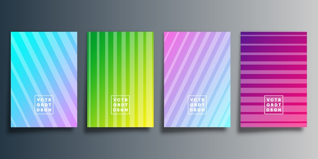 Ensemble de couverture dégradé coloré avec dessin de ligne