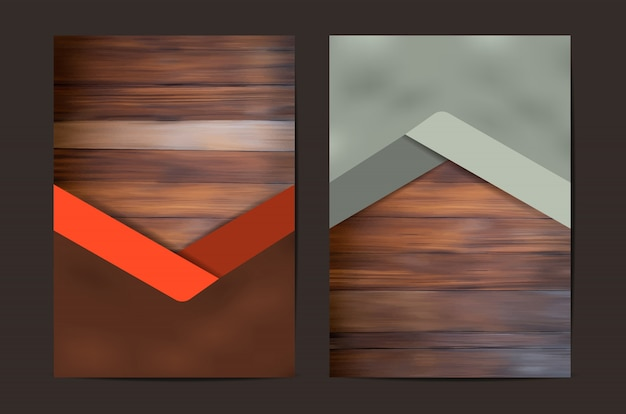 Ensemble de couverture géométrique de texture bois