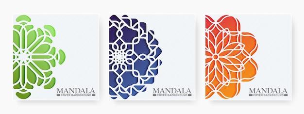 Ensemble de couverture de livre de mandala en dégradé de couleur