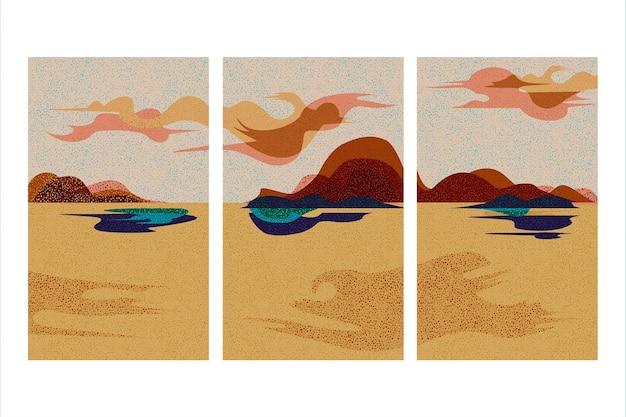 Ensemble de couverture de paysage abstrait dessiné à la main