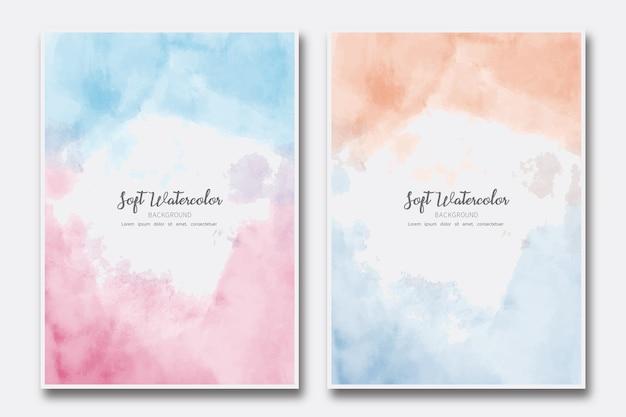 Ensemble de couverture peinte abstraite aquarelle douce nuage