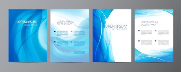 Ensemble de couvertures abstraites ondulées, brochures, dépliants