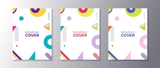 Ensemble de couvertures design memphis avec une forme géométrique cool