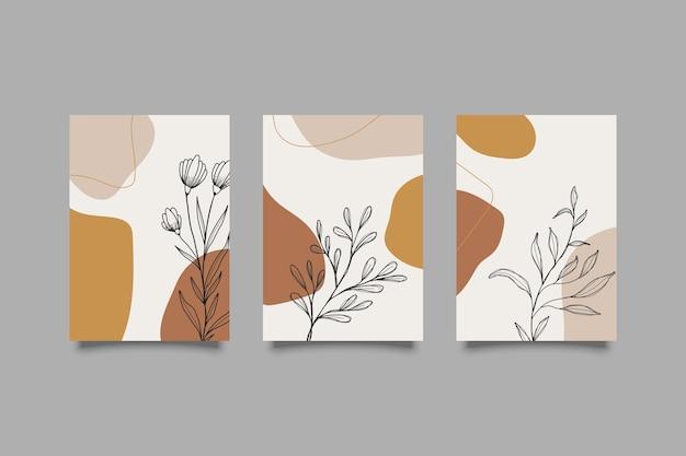 Ensemble de couvertures de formes abstraites et dessinées à la main botanique