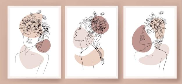 Ensemble de couvertures avec des formes abstraites fille illustration florale