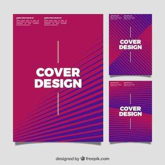 Ensemble de couvertures avec des lignes abstraites