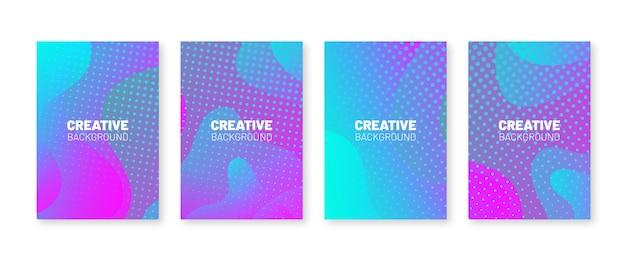 Ensemble de couvertures minimales. motif multicolore de points de demi-teintes.