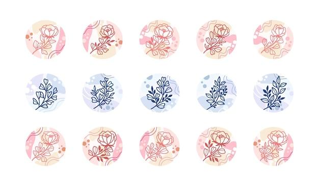 Ensemble de couvertures de mise en évidence de l'histoire d'instagram avec des éléments floraux et abstraits minimalistes