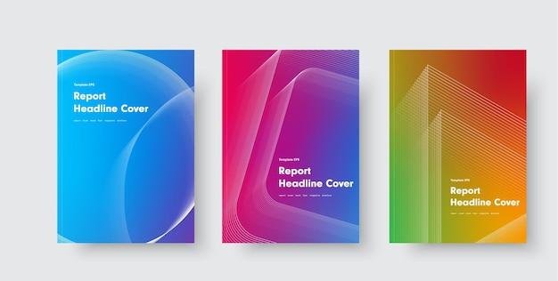 Ensemble de couvertures modernes aux formes dégradées et géométriques. modèles de conception avec des éléments abstraits.