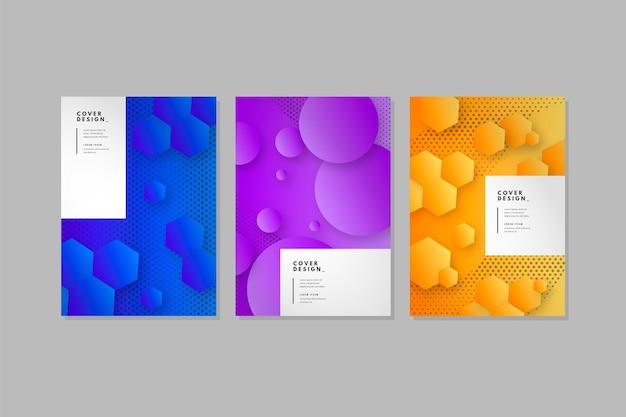 Ensemble de couvertures monochromes abstraites
