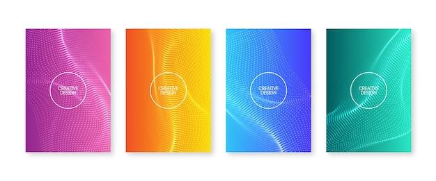 Ensemble de couvertures à pois ondulés. gradients fluides avec des ondes floues. conception de flyer abstraite. collection d'affiche de couleur liquide moderne. modèle de fond à la mode pour les médias sociaux, etc.
