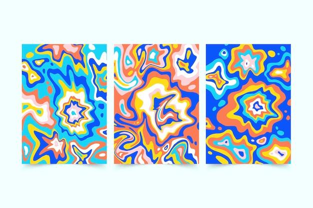 Ensemble de couvertures psychédéliques groovy colorées dessinées à la main