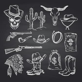 Ensemble de cow-boy ouest sauvage dessinés à la main