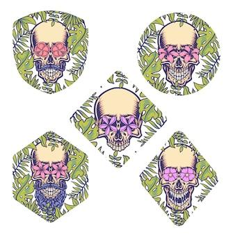 Ensemble de crâne avec bordure tropicale, ligne dessinée à la main avec couleur numérique, illustration
