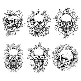 Ensemble de crâne avec des fleurs tropicales