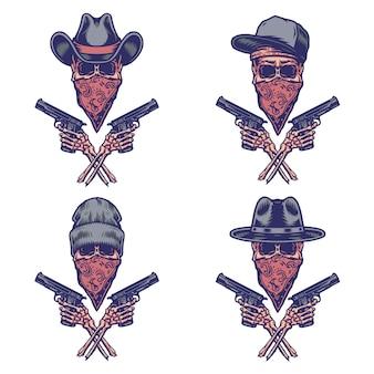Ensemble de crâne portant un bandana et tenant un pistolet