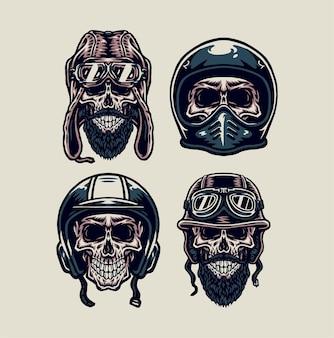 Ensemble de crâne portant un casque vintage, style de ligne dessiné à la main avec couleur numérique