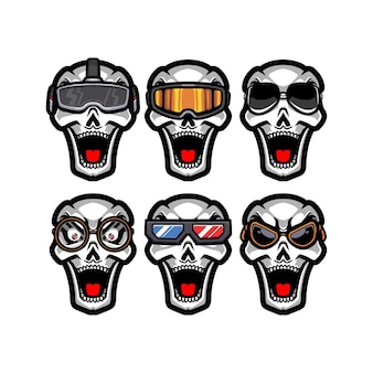 Ensemble de crâne portant des lunettes différentes