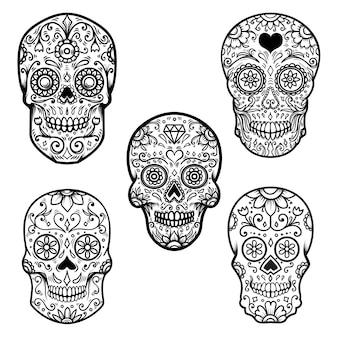 Ensemble de crâne de sucre coloré isolé sur fond blanc. le jour des morts. dia de los muertos. élément de conception pour affiche, carte, bannière, impression.