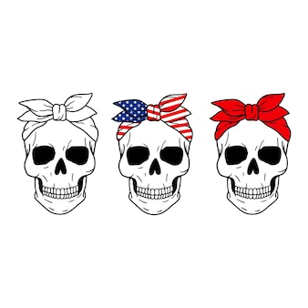 Ensemble de crânes crâne avec bandana rouge drapeau américain imprimer halloween