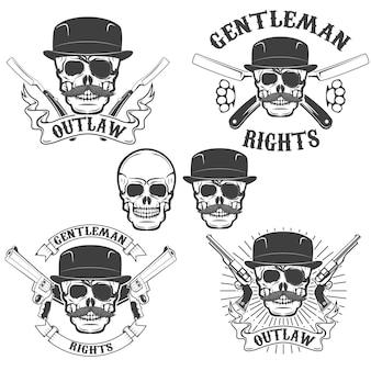 Ensemble de crânes de gangsta isolé sur fond blanc