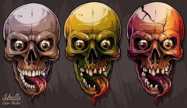 Ensemble de crânes humains colorés graphiques détaillés