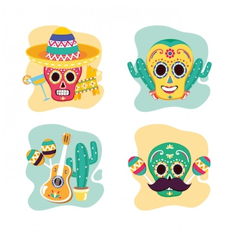 Ensemble de crânes mexicains