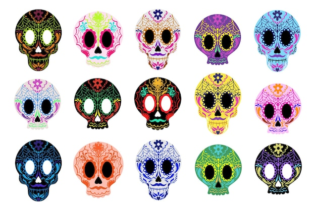 Ensemble de crânes en sucre day of the dead. dia de los muertos mexicain halloween. vecteur.
