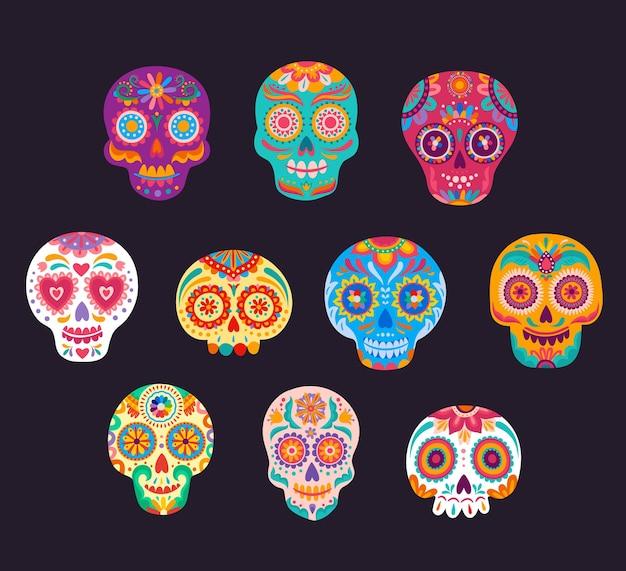 Ensemble de crânes de sucre de dessin animé mexicain calavera