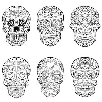 Ensemble de crânes en sucre dessinés à la main. le jour des morts. dia de los muertos. illustration