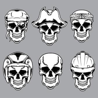 Ensemble de crânes vintage