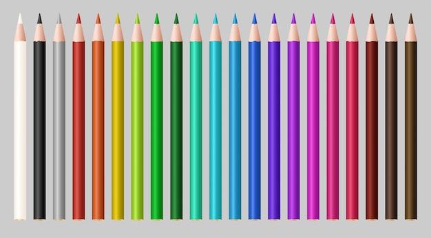Ensemble d'un crayon en bois de couleur réelle