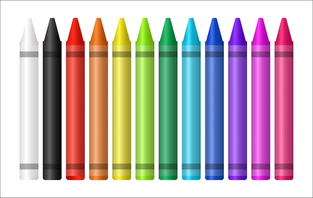 Ensemble d'un crayon de couleur sur fond blanc