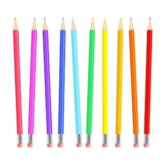 Ensemble de crayons colorés et réalistes