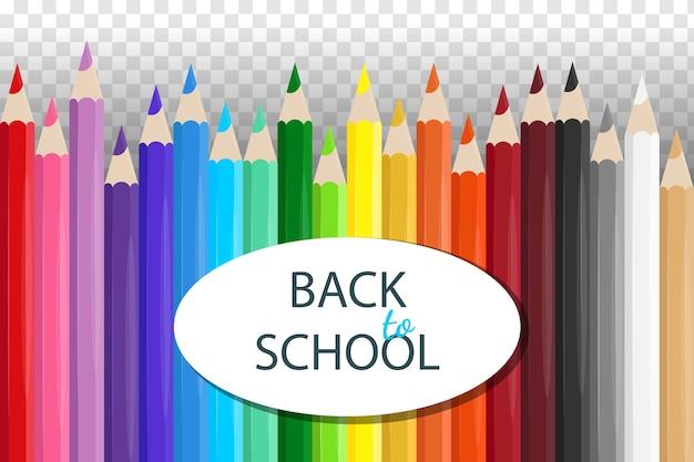 Ensemble de crayons colorés scolaires réalistes